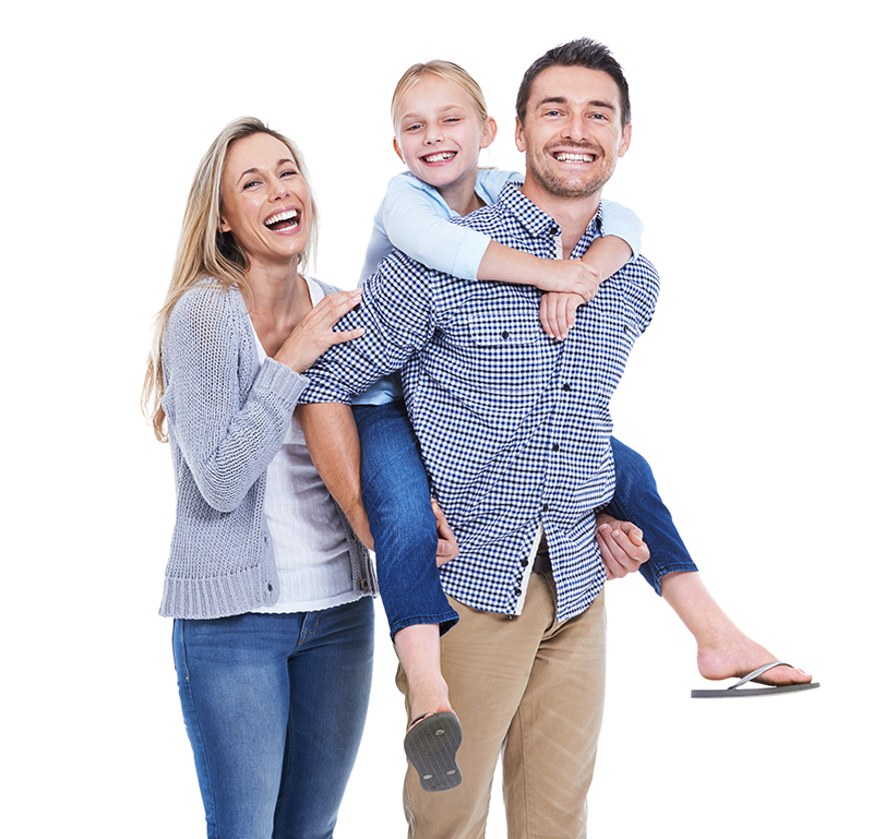 Studio shot of a laughing mother, daughter and father against a white background